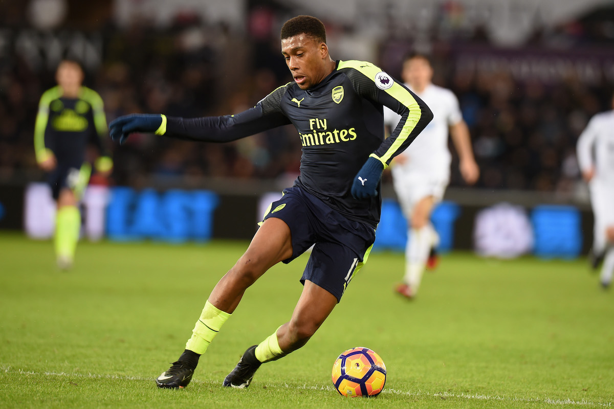 Alex Iwobi of Arsenal during the Premier League match between Swansea City and Arsenal