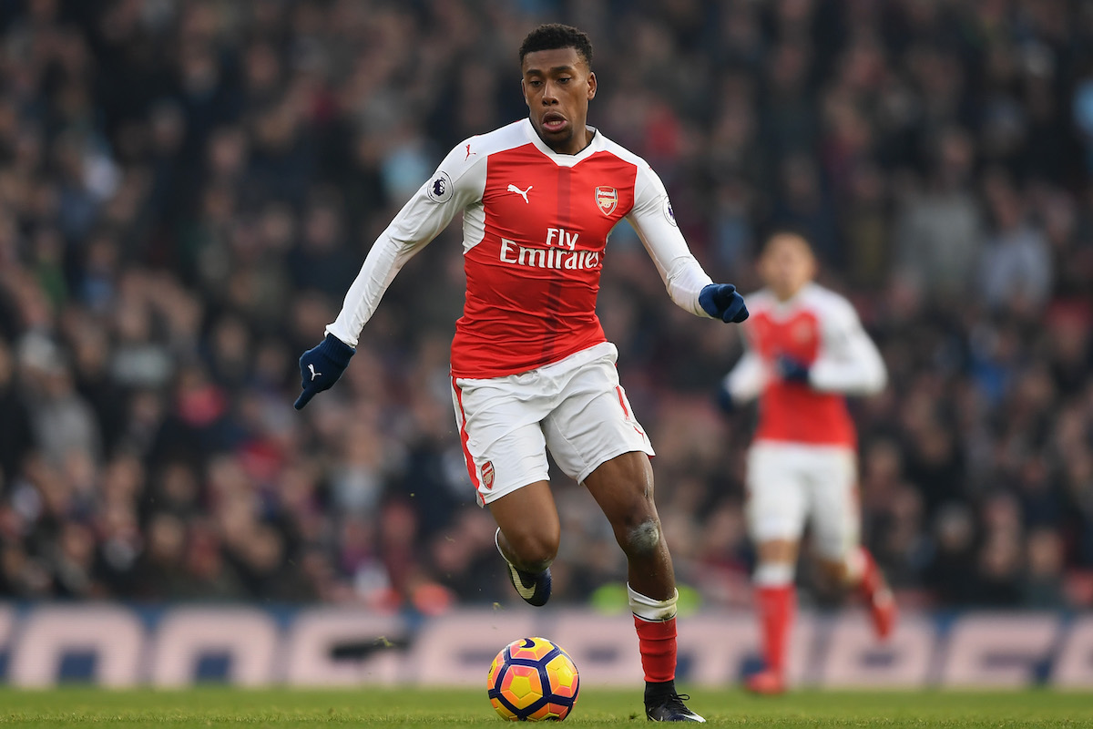 Alex Iwobi of Arsenal in action during the Premier League match between Arsenal and Burnley at the Emirates Stadium