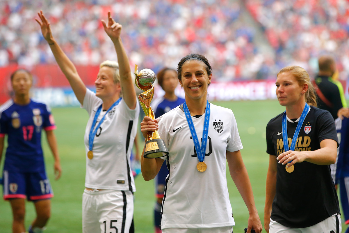 Carli Lloyd #10 of the United States celebrates the 5-2 victory against Japan in the FIFA Women's World Cup Canada 2015