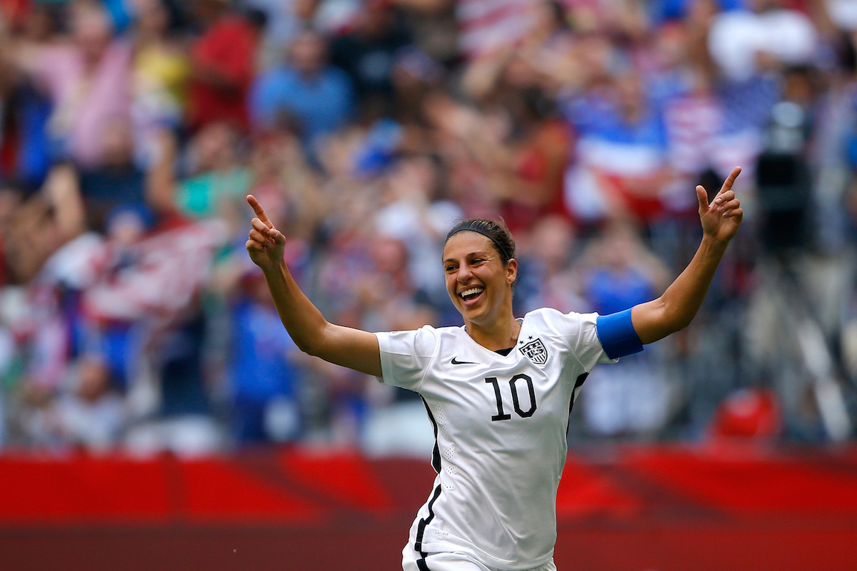 Carli Lloyd #10 of the United States reacts in the first half after scoring a goal against Japan