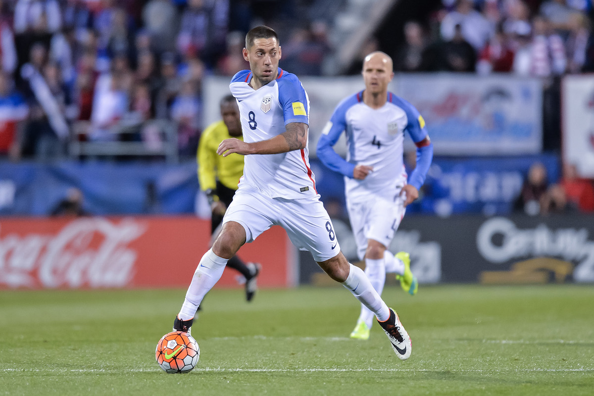 Clint Dempsey playing for the USA Men's National Team.
