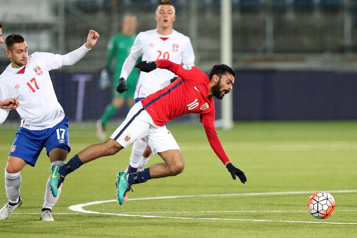 Norway's Ghayas Zahid and Serbias Nemanja Maksimovi during the UEFA European Under-21 Championship