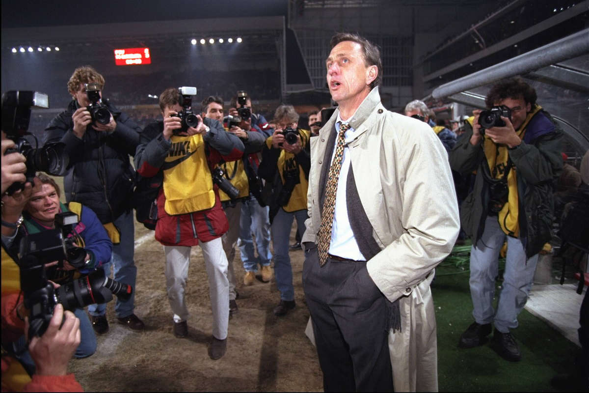 Barcelona manager Johan Cruyff before a Champions League game
