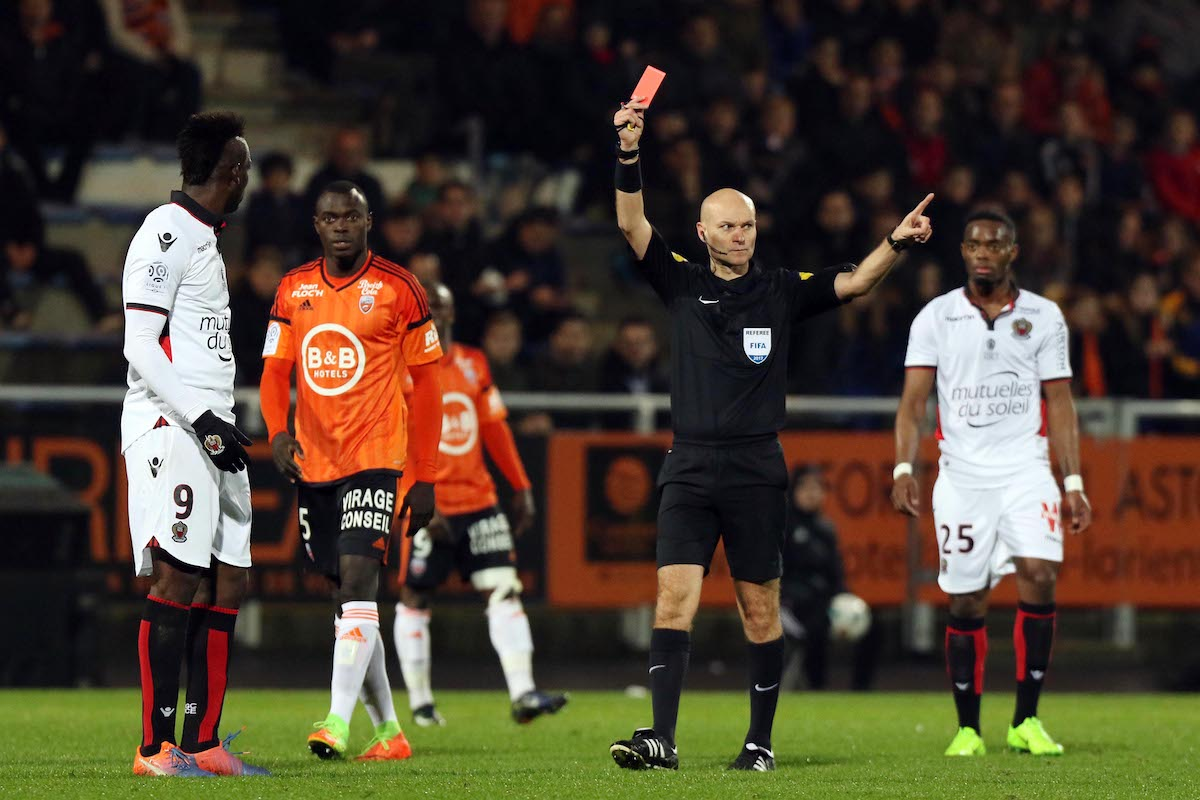 Balotelli received a red card against Lorient for something he said to the referee.