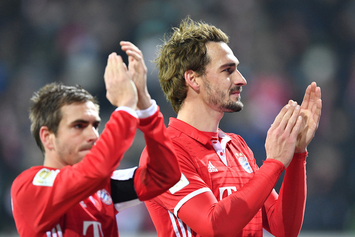 Mats Hummels of Muenchen celebrate after the Bundesliga match between Werder Bremen and Bayern Muenchen