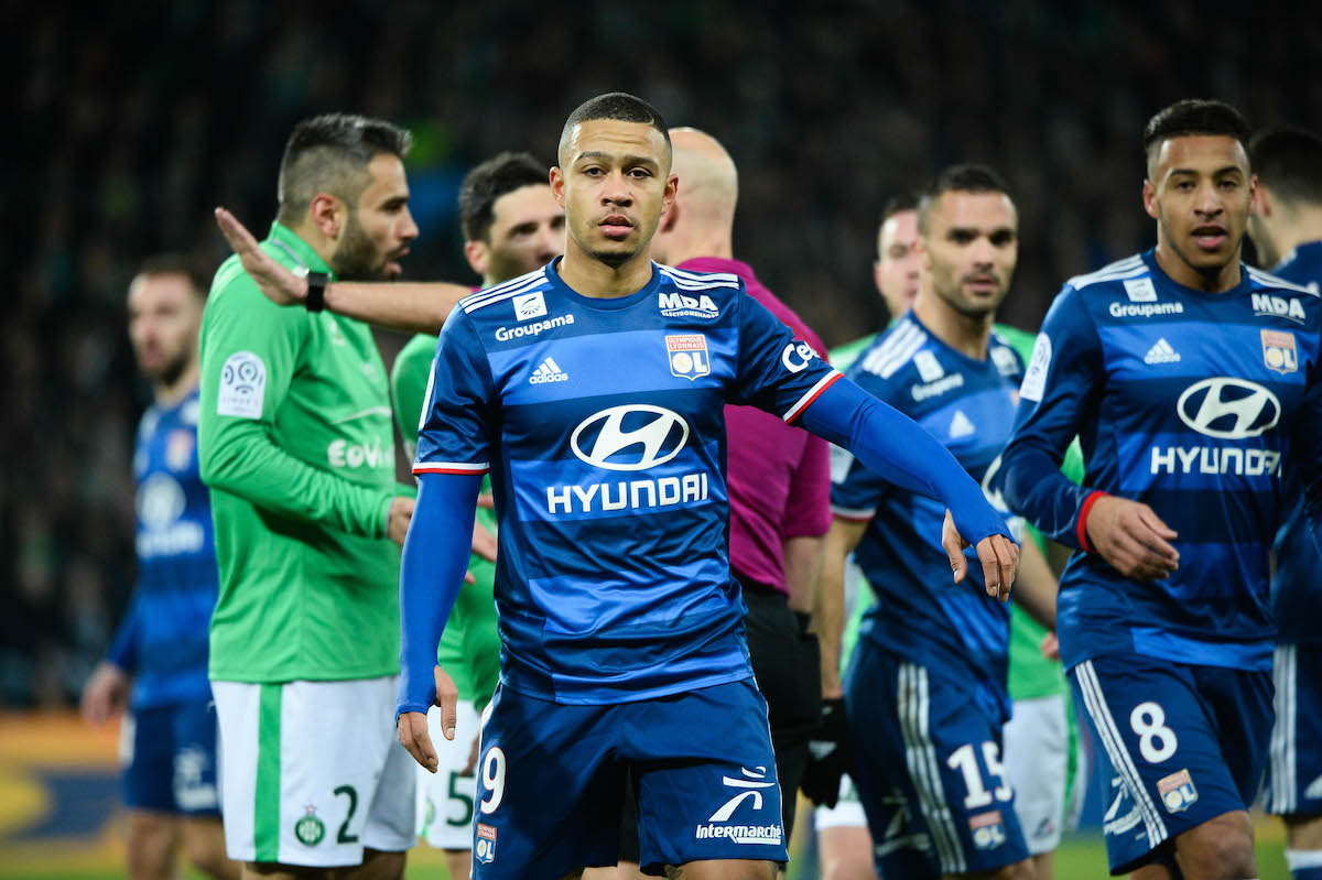 Memphis Depay of Lyon during the Ligue 1 match between As Saint Etienne and Olympique Lyonnais Lyon at Stade Geoffroy-Guichard