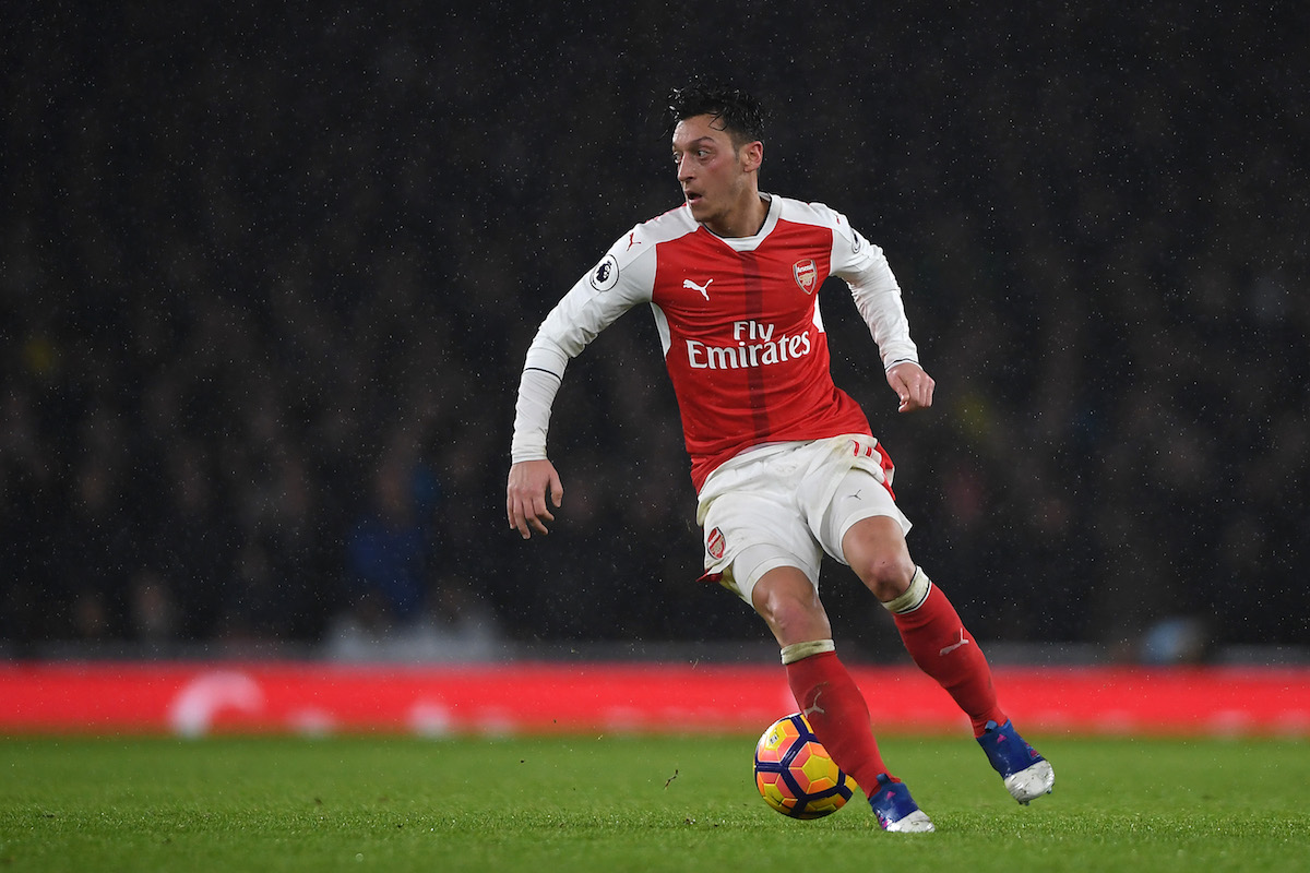 Mesut Ozil of Arsenal in action during the Premier League match between Arsenal and Watford