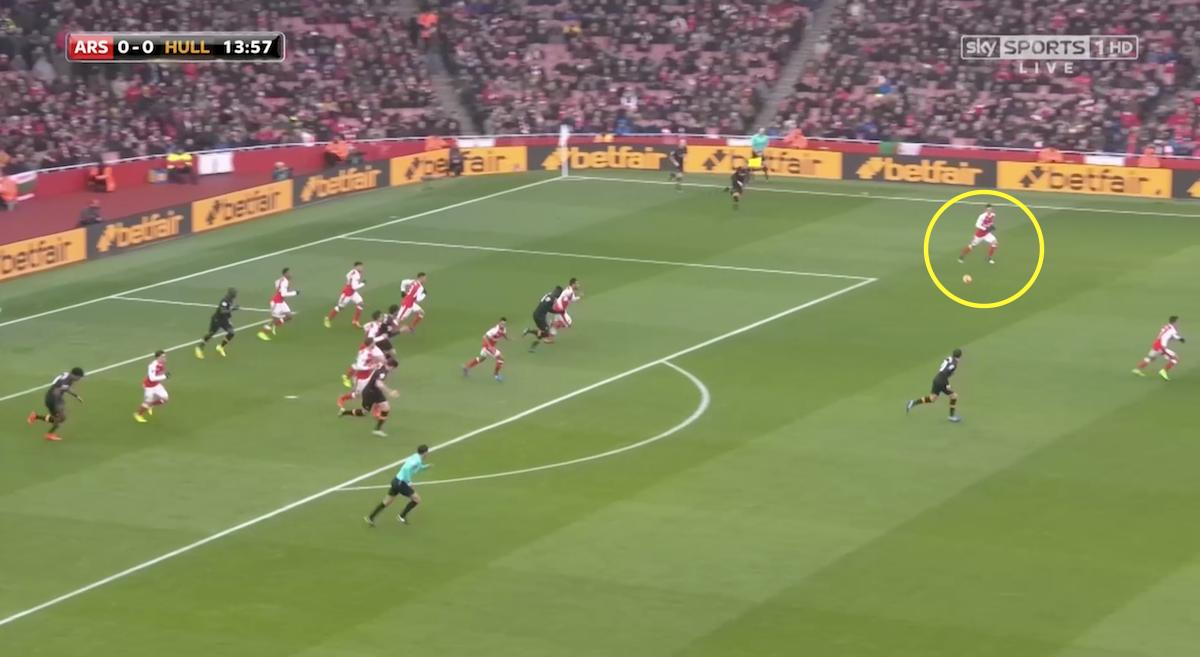 Mesut Ozil spoiling Arsenal's counter-attack.