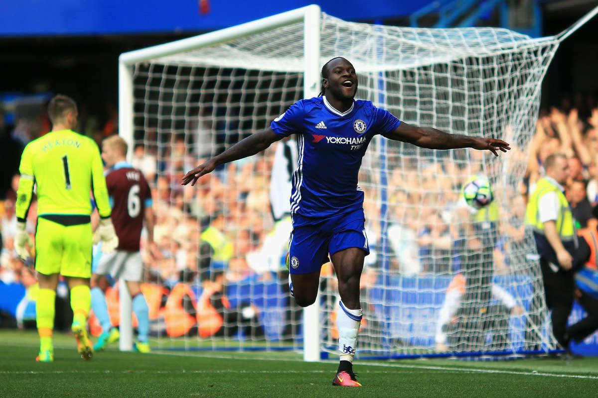 Victor Moses celebrates scoring against Burnley