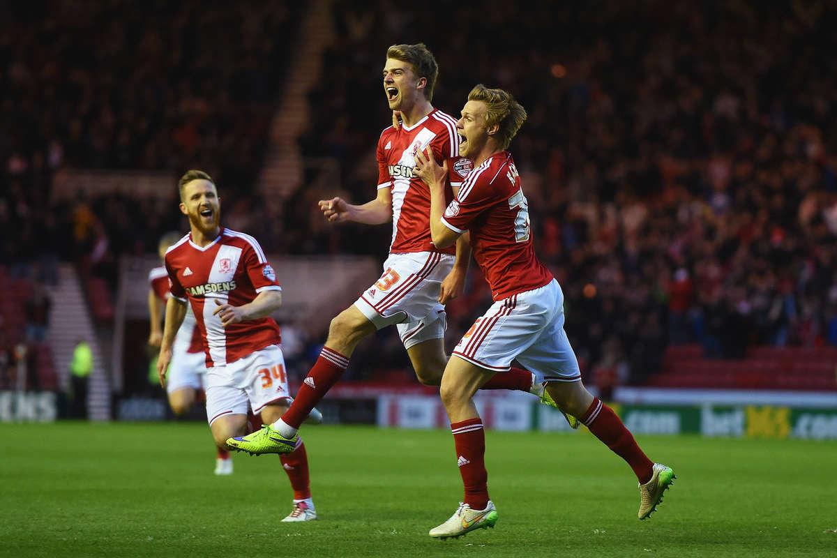 Patrick Bamford celebrates scoring a goal for Middlesbrough