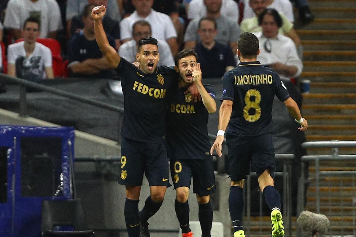 Bernardo Silva of Monaco (10) celebrates with Radamel Falcao Garcia and Joao Moutinho as he scores their first goal during the UEFA Champions League