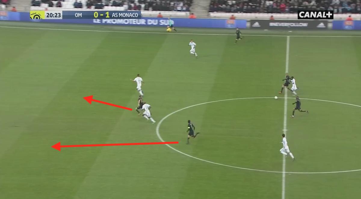 Radamel Falcao's excellent movement for AS Monaco