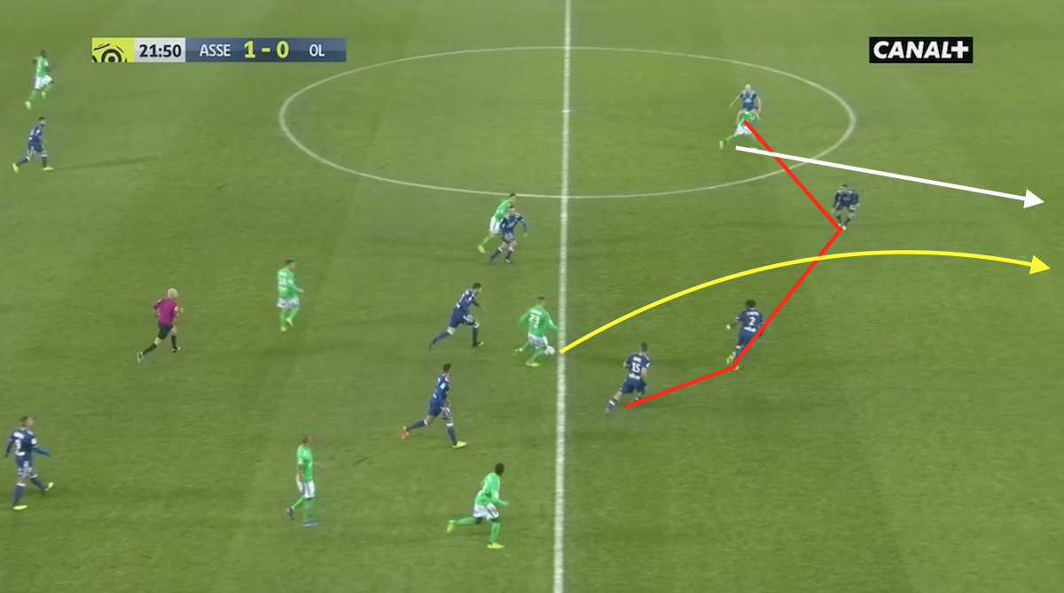 Lyon's defence were ripped apart by one pass.