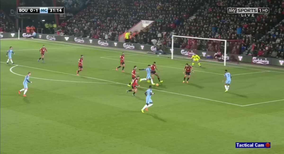 Sergio Aguero forcing a shot from a tough position.