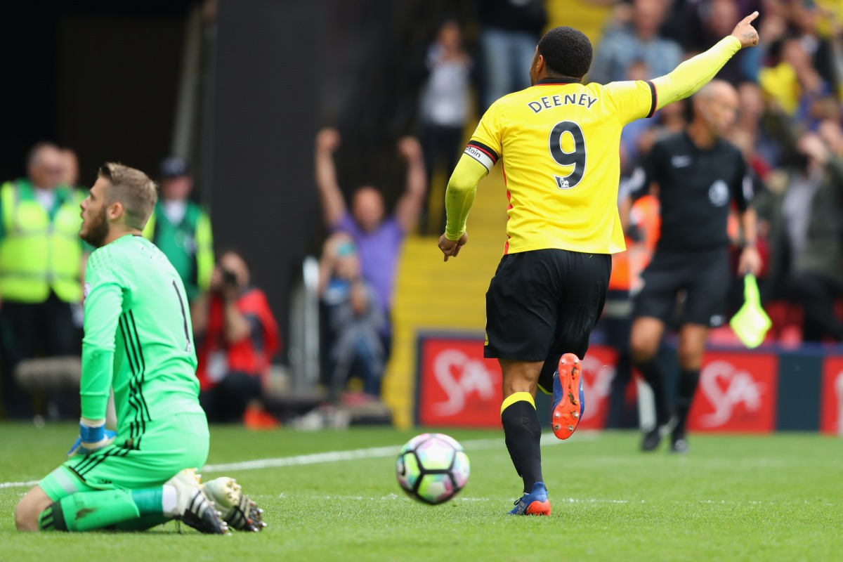Watford striker Troy Deeney scored a penalty against Manchester United earlier this seasson