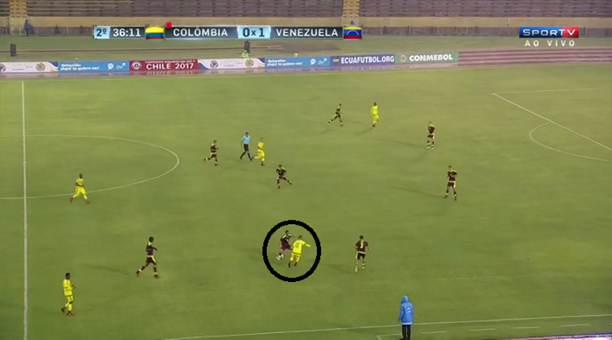 Manchester City's new signing, Yangel Herrera, shows his defensive awareness