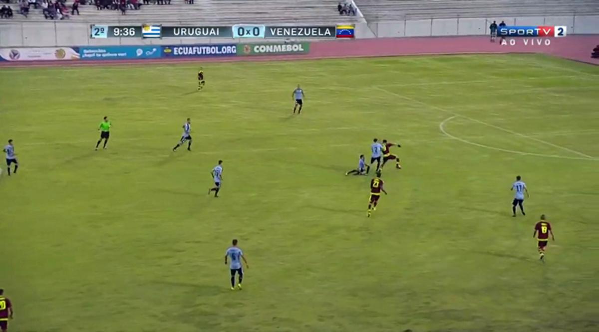 Venezuela midfielder Yangel Herrera completes his through pass