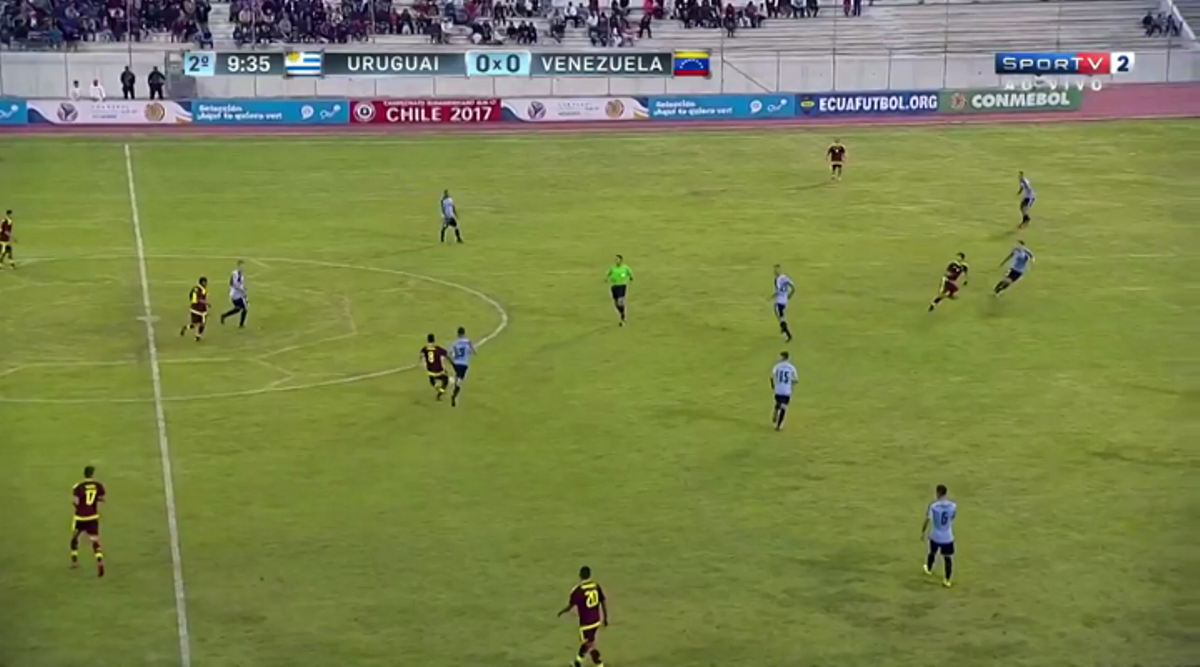 Venezuela midfielder Yangel Herrera attempts a through pass