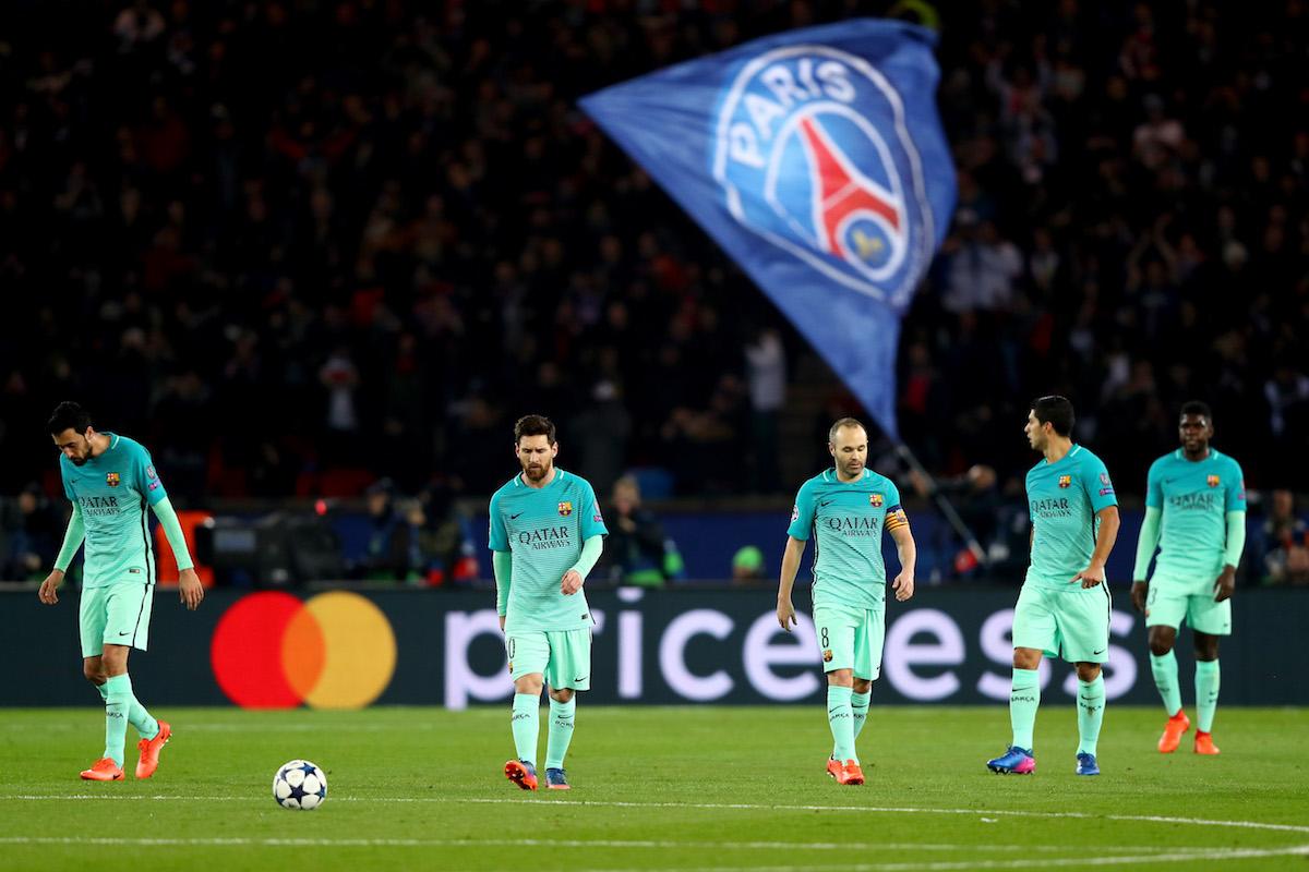 Sergio Busquets, Lionel Messi, Andres Iniesta, Luis Suarez and Samuel Umtiti of Barcelona
