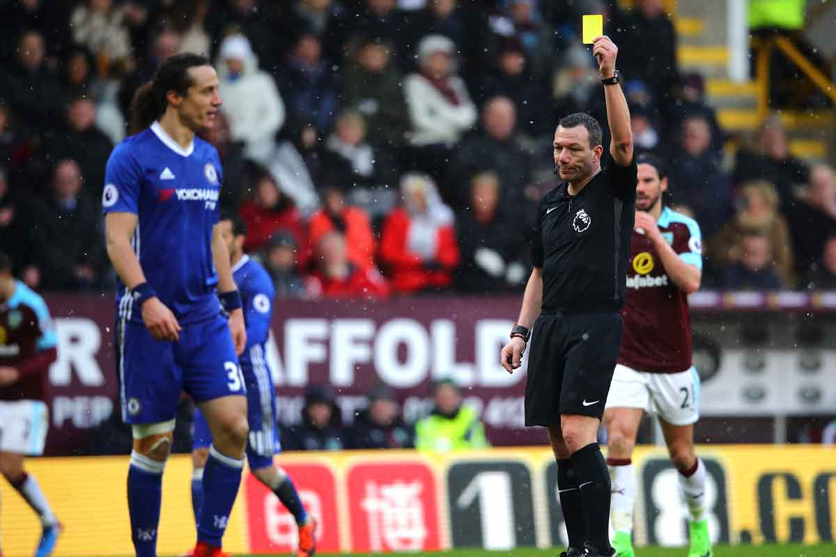 David Luiz is booked against Burnley