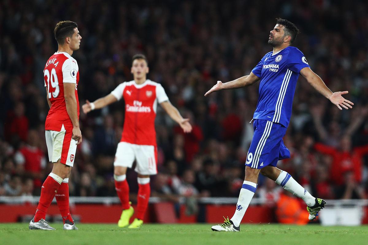 Diego Costa and Granit Xhaka, Arsenal 3-0 Chelsea