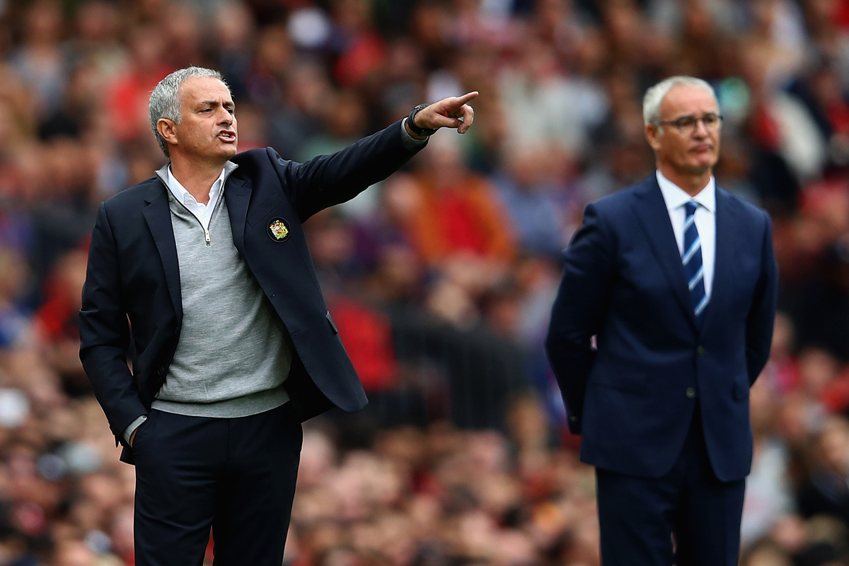 Manchester United Jose Mourinho and Leicester boss Claudio Ranieri