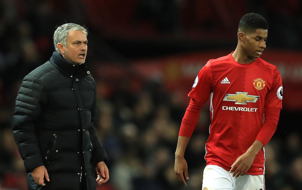 Jose Mourinho, Manager of Manchester United gives instruction to Marcus Rashford