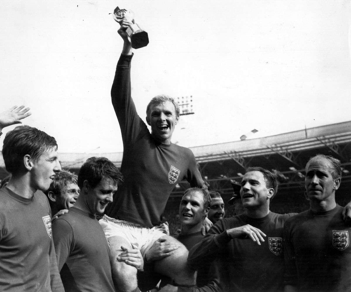 Bobby Moore lifts the Jules Rimet World Cup Trophy in 1966 after England beat West Germany in the World Cup Final at Wembley