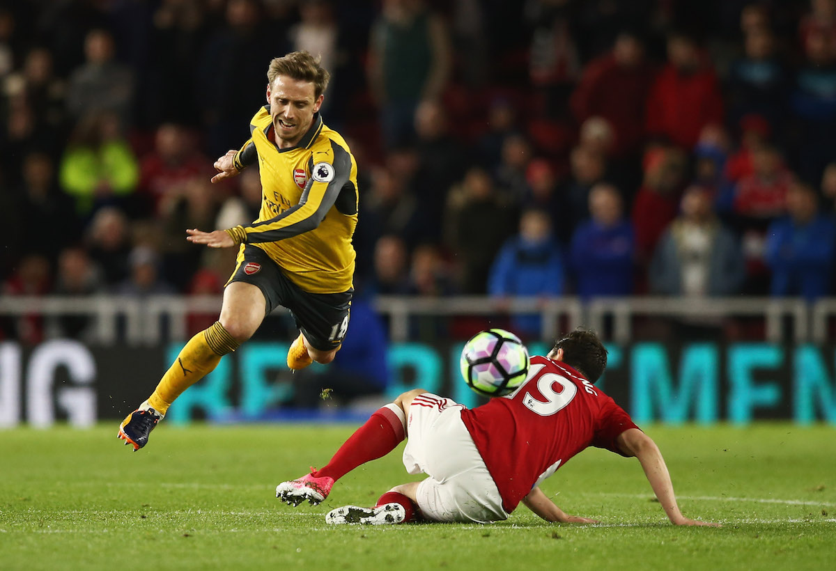 Arsenal defender Nacho Monreal in Premier League action against Middlesbrough