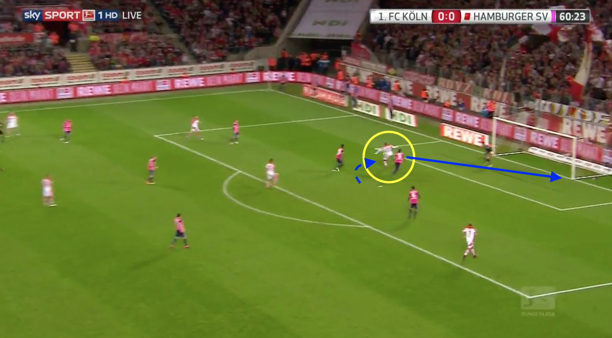 Koln striker Anthony Modeste scores against Hamburger in the Bundesliga