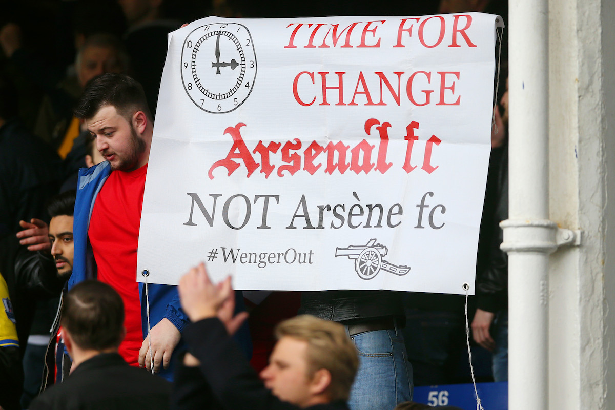 Arsenal fans show their frustration towards Arsenal manager Arsene Wenger